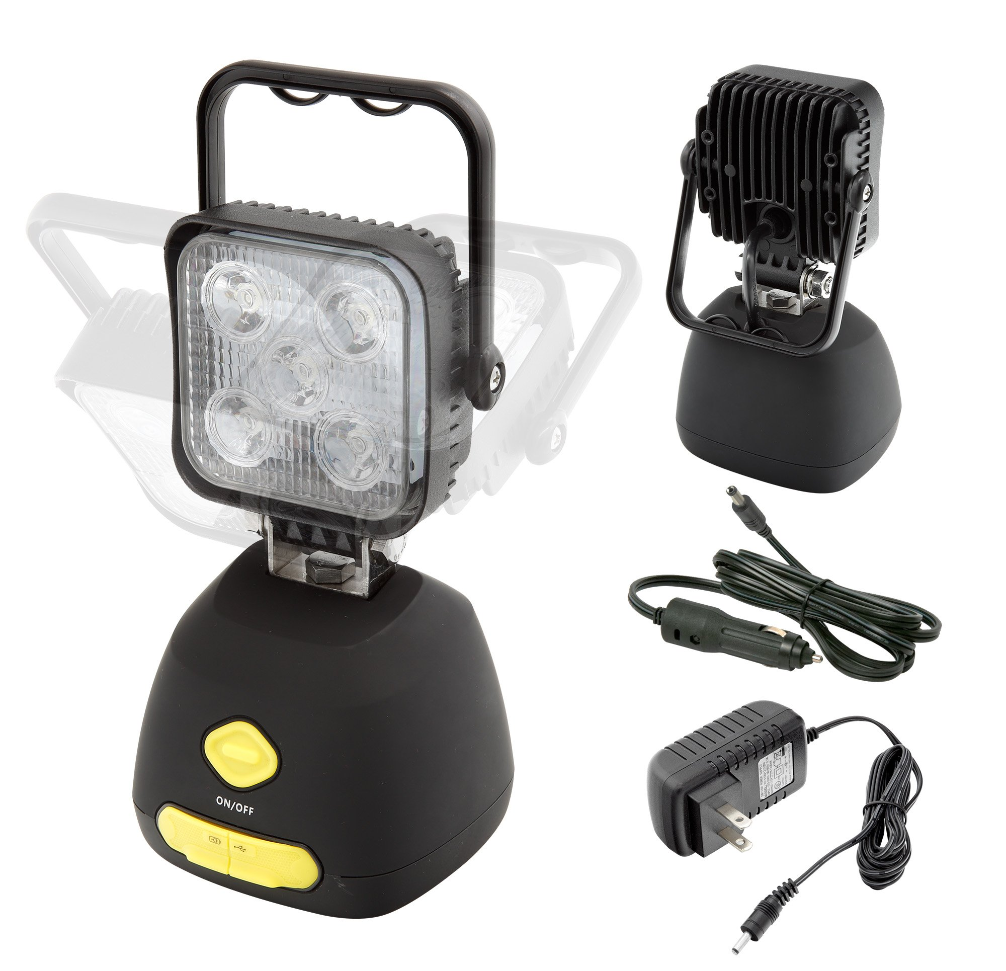 Rechargeable Heavy Duty Super Bright 1000 lumens Multi-Purpose Work Light Camping Lantern IP65 Strong Magnet, Comes with AC & DC Chargers