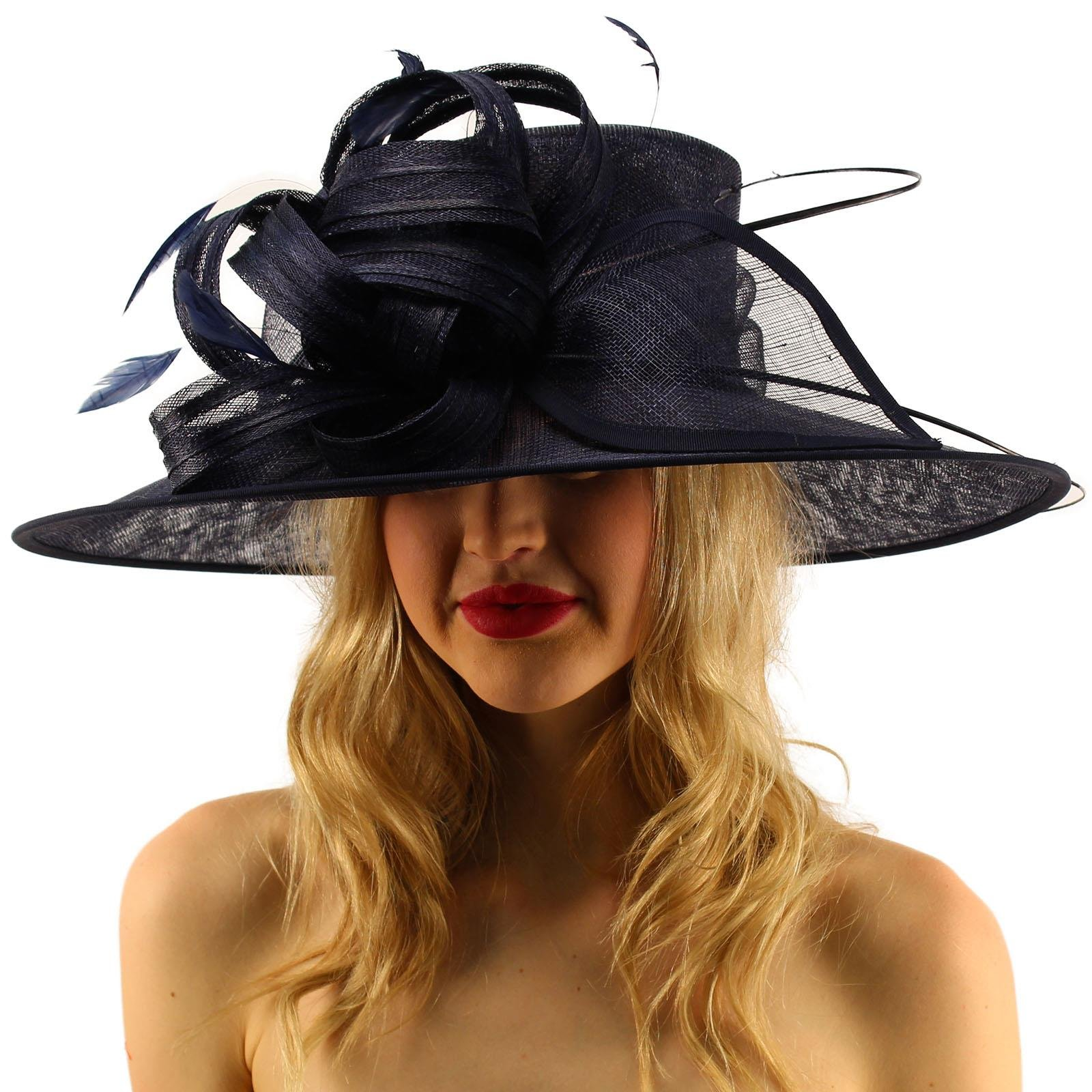 British Regal Sinamy Ribbon Feathers Quill Derby Floppy Bucket Dressy Hat Navy by SK Hat shop (Image #2)