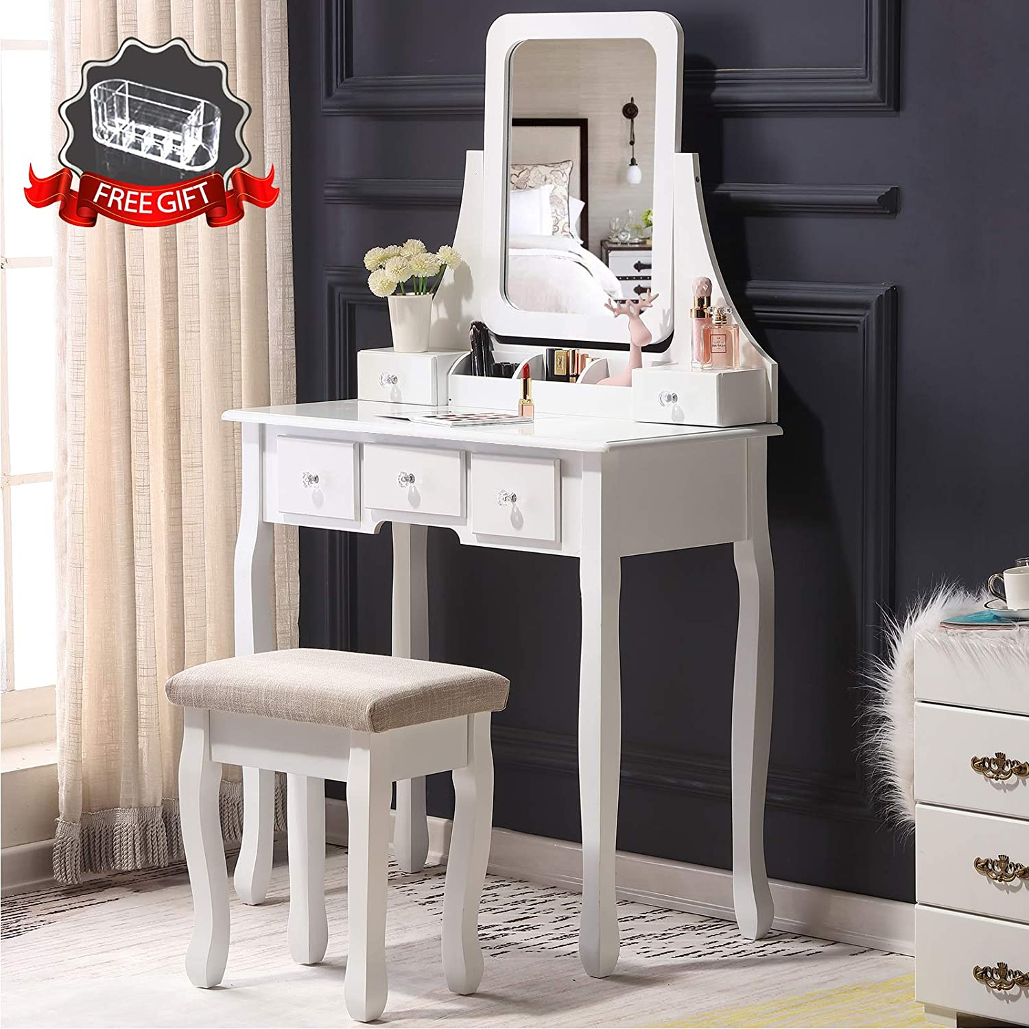 Unihome Makeup Vanity Set with Mirror, Cushioned Stool, 5 Drawers and Gift Makeup Organizer Dressing Table White (5 Drawers)