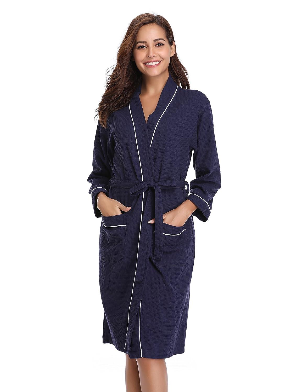Vlazom Unisex Waffle Kimono Robe Cotton Dressing Gown Lightweight Bathrobe for Spa Hotel Sleepwear Bridesmaid Gift/Wedding Robes
