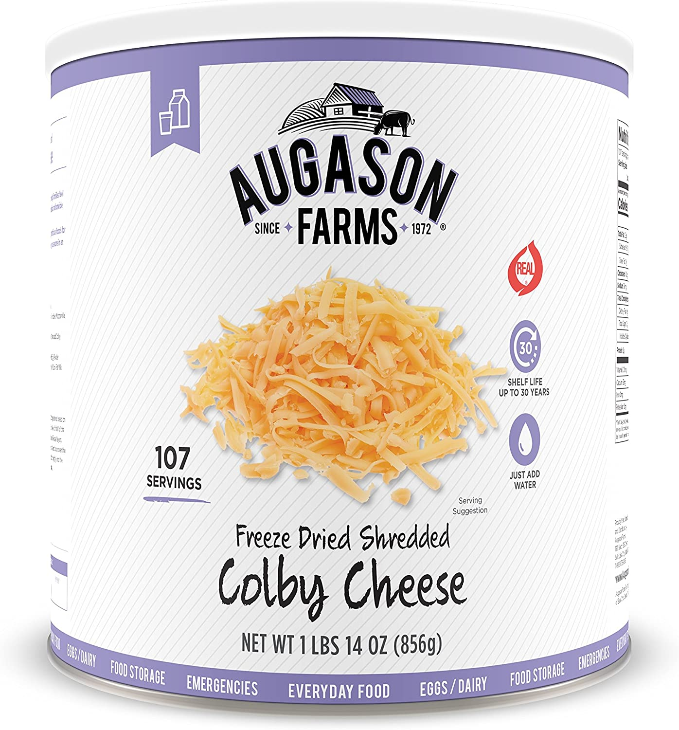 Augason Farms Freeze Dried Shredded Colby Cheese 1 lbs 14 oz No. 10 Can