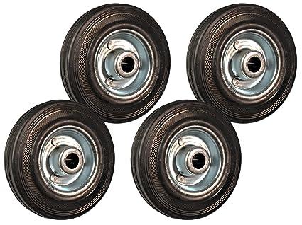 Juego de 4 ruedas de repuesto de goma, 125 mm, para ruedas giratorias,