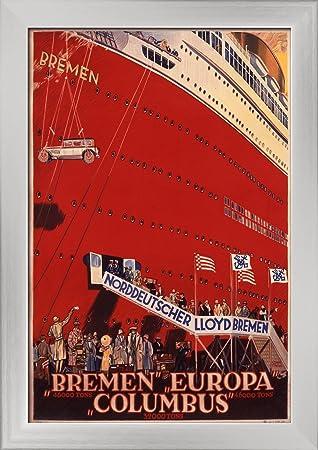 Norddeutscher Lloyd Bremen - Bremen Europa Columbus Vintage Poster (artist: Steiner) Germany c