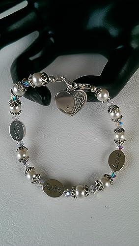 nice shoes differently hot products Amazon.com: Swarovski HOPE FAITH LOVE Pearl Bracelet: Handmade