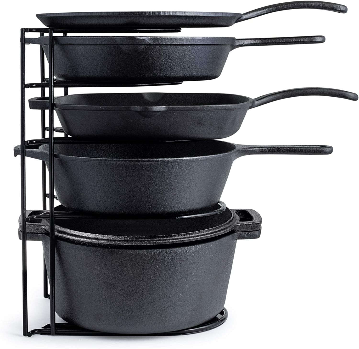 Heavy Duty Pan Organizer, Extra Large 5 Tier Rack - Holds a Dutch Oven - Durable Steel Construction - Space Saving Kitchen Storage - No Assembly Required - Black. 15-inch