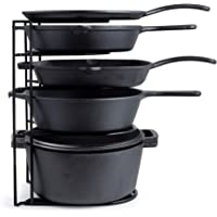 Heavy Duty Pan Organizer, Extra Large 5 Tier Rack - Holds Cast Iron Skillets, Dutch Oven, Griddles - Durable Steel Construction - Space Saving Kitchen Storage - No Assembly Required- Black 15.4-inch