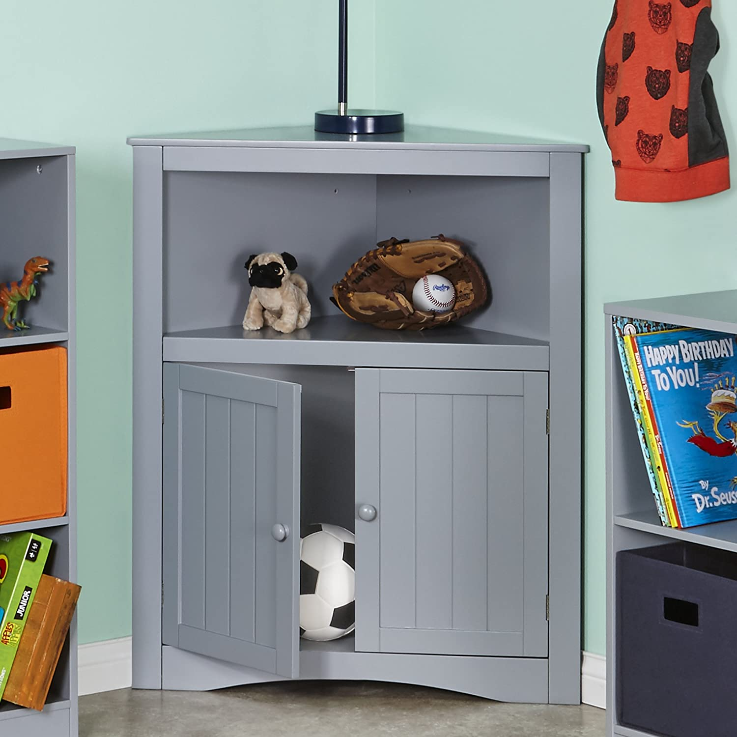 Amazon.com: Kids 2-Door Corner Cabinet - Gray: Home & Kitchen