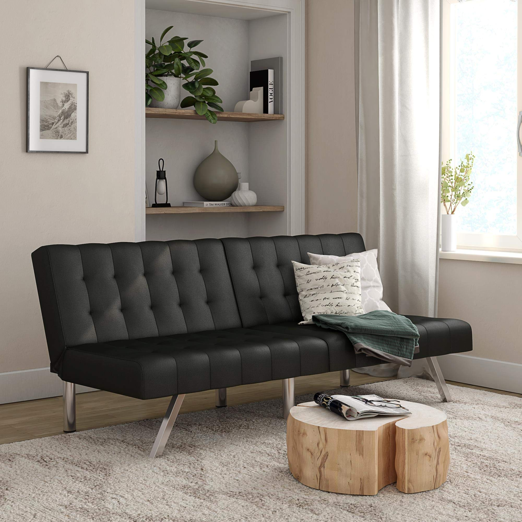 Mainstays Morgan Convertible Tufted Futon, Black Faux Leather by Mainstay