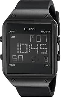 GUESS Mens U0595G1 Trendy Black Stainless Steel Watch with Digital Dial and Black Strap Buckle