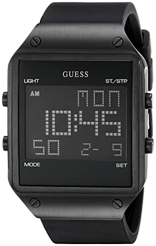 GUESS U0595G1 - Reloj Digital Cuadrado para Hombre con Correa de Silicona Negra: Guess: Amazon.es: Relojes