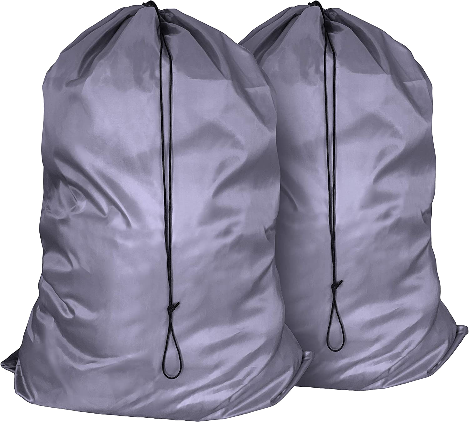 Ziz Home Heavy Duty Nylon Laundry Bags, Pack of 2, Extra Large Travel Laundry Bag, Ripstop Nylon Dirty Clothes Bags, Anti-Odor Laundry Hamper Liners, Machine Washable, 35 x 24 Inches, Grey