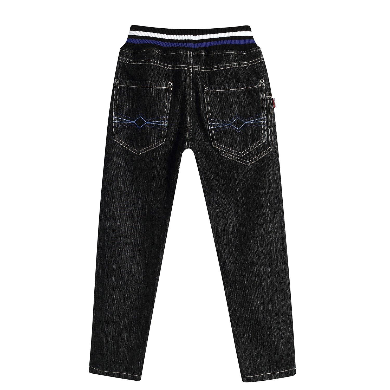 Leo&Lily Big boys'Husky Whole Rib Waist Fine Denim Black Jeans (16) by Leo&Lily (Image #4)
