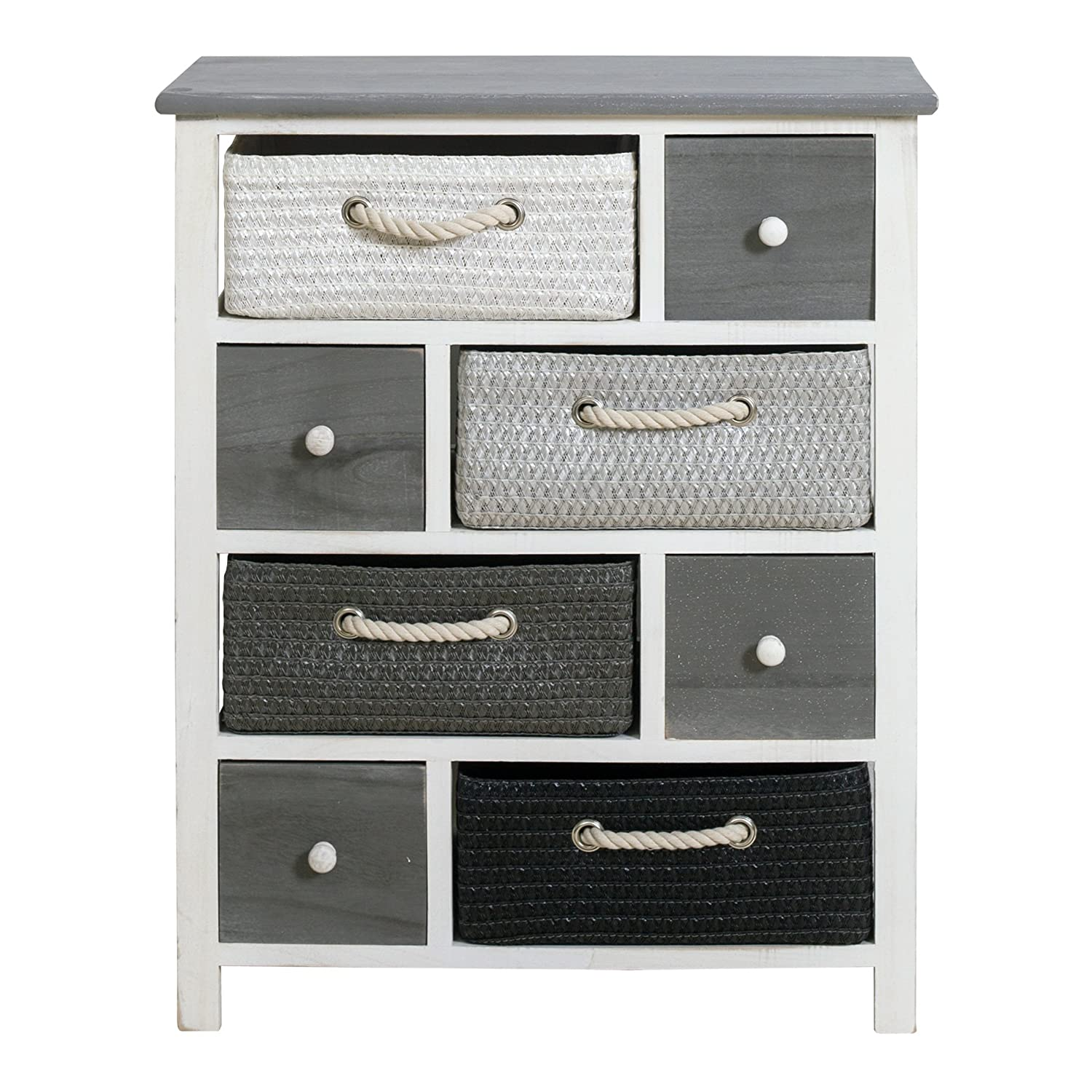 Rebecca srl Chest of drawers Cabinet 4 Wooden Drawers and 4 Wicker Baskets White Grey Black Vintage Shabby Bedroom (Cod. RE4325)