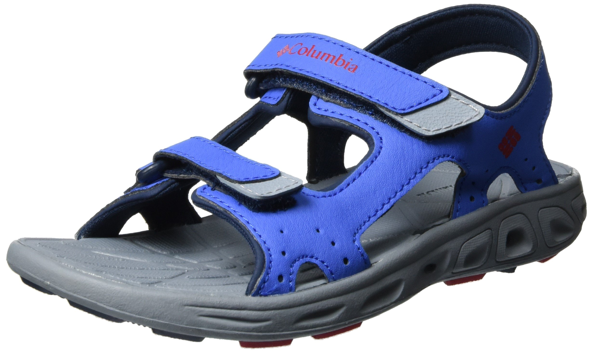 Columbia Unisex Youth TECHSUN Vent Sport Sandal, Stormy Blue, Mountain red, 4 Regular US Big Kid
