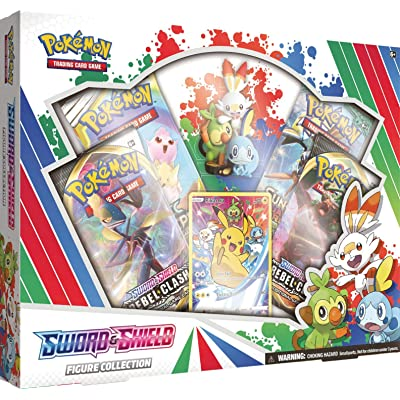 Pokemon TCG: Sword & Shield Figure Collection | 4 Booster Packs | 1 Full-Art foil Card Featuring Pikachu | Genuine Cards: Toys & Games