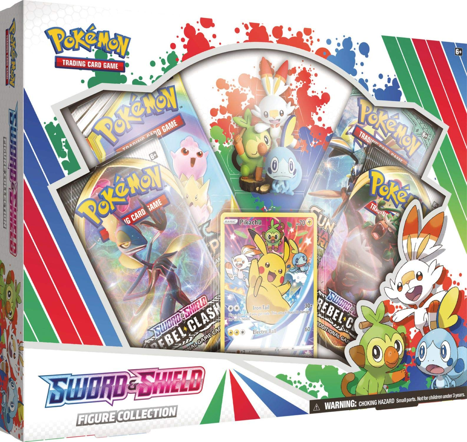 Pokemon TCG: Sword & Shield Figure Collection | 4 Booster Packs | 1 Full-Art foil Card Featuring Pikachu | Genuine Cards