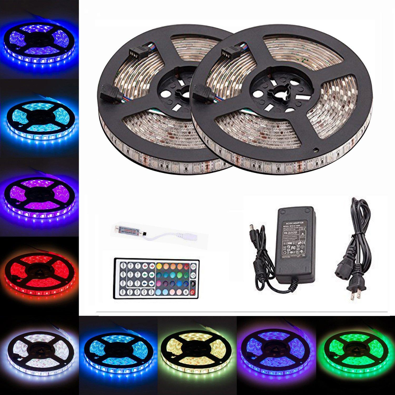 LTROP 2 Reels 12V 32.8ft Waterproof Flexible RGB LED Strip Light Kit, Color Changing SMD5050 300 LEDs, LED Strip Kit & Mini 44-key IR Controller + 12V 5A Power Supply, Adhesive Light Strips