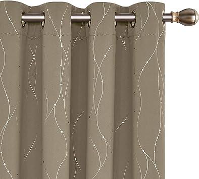 Deconovo Vorhang Verdunkelung Gardinen Schlafzimmer Vorhängen Blickdicht  175x140 cm Taupe 2er Set