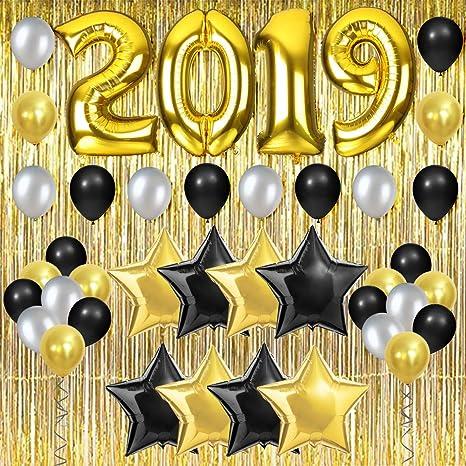 2019 Decoraciones Para Fiestas De Oro Con Cortina De Flecos Y Globos Para Graduación Jubilación Feliz Año Nuevo