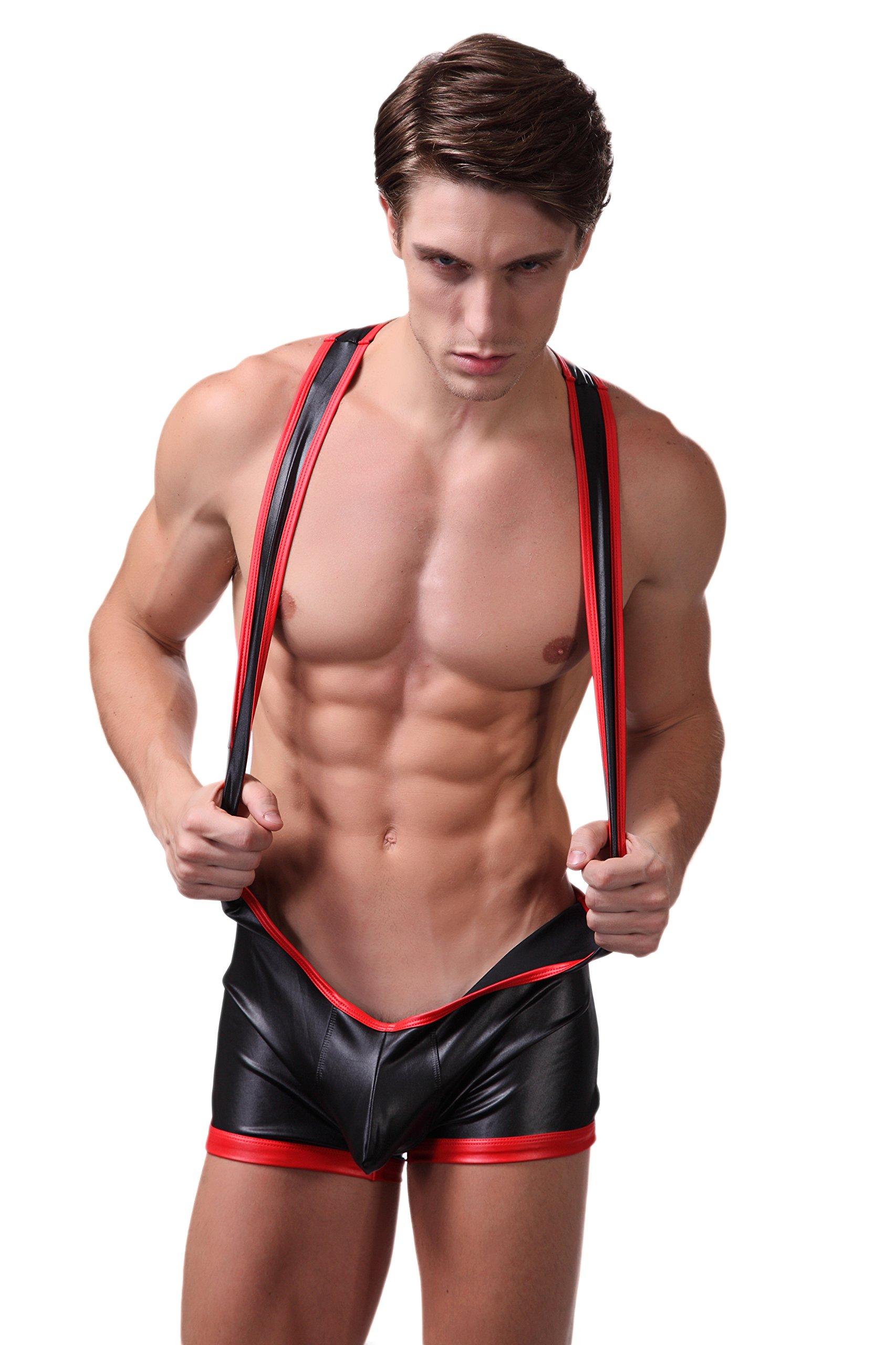 F plus R Men's Faux Leather Jockstrap Bodywear Black Medium