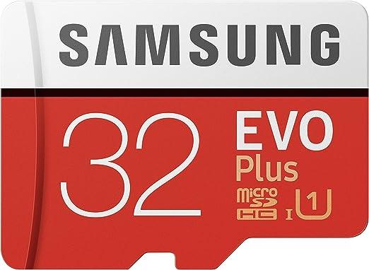 Samsung EVO Plus - Tarjeta de memoria microSD de 32 GB con adaptador SD, 95 MB/s, UHS1, color rojo y blanco: Amazon.es: Informática