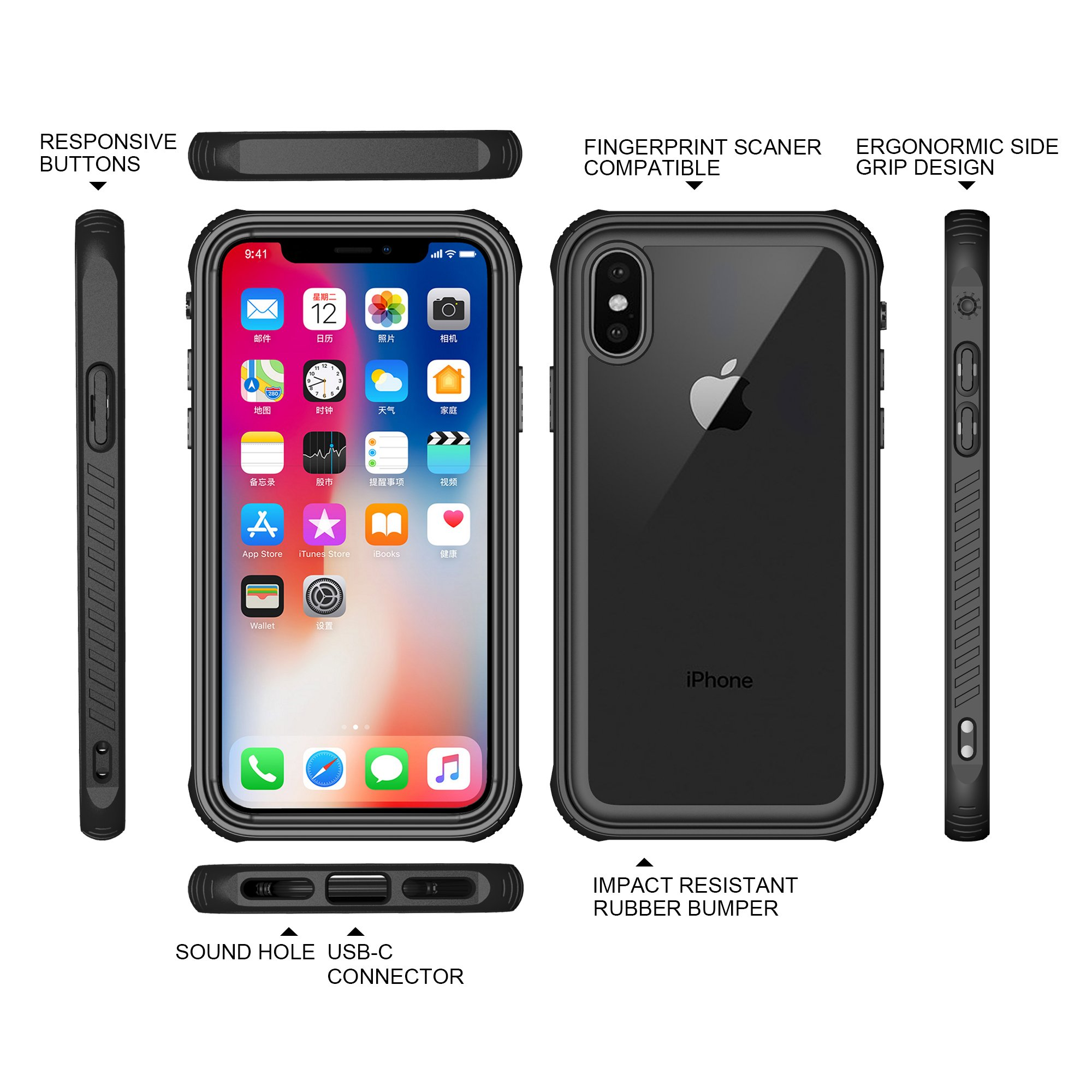 iPhone X Case, Hybrid Drop Protection for Apple iPhone, Clear Case Reinforced Frame, TPU Bumper , Clear Hard PC Back Cover