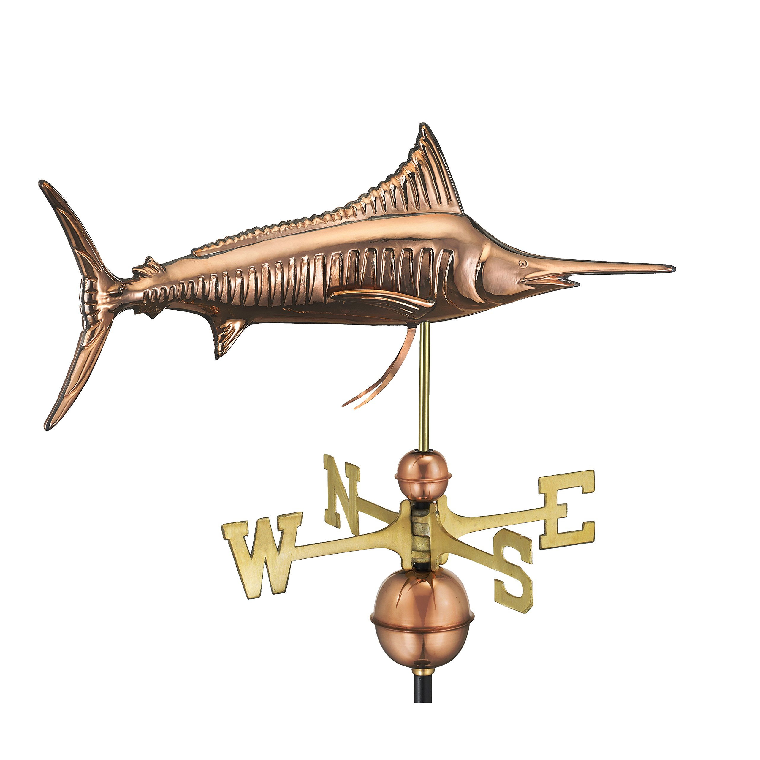 Good Directions Marlin Weathervane, Pure Copper, Fish