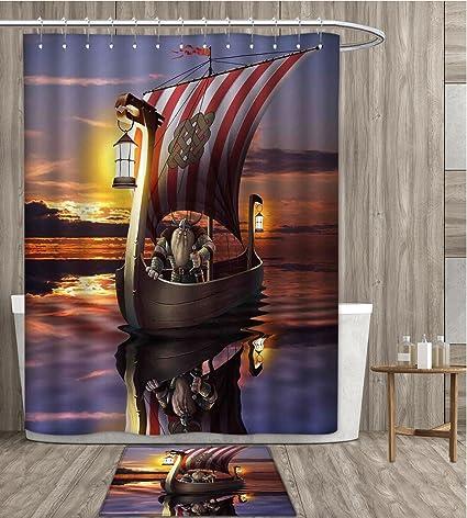 SmllmoonDecor Viking Shower Curtain Customize A Warrior In Ship Twilight Barbarian Nordic Scandinavian Culture Artwork