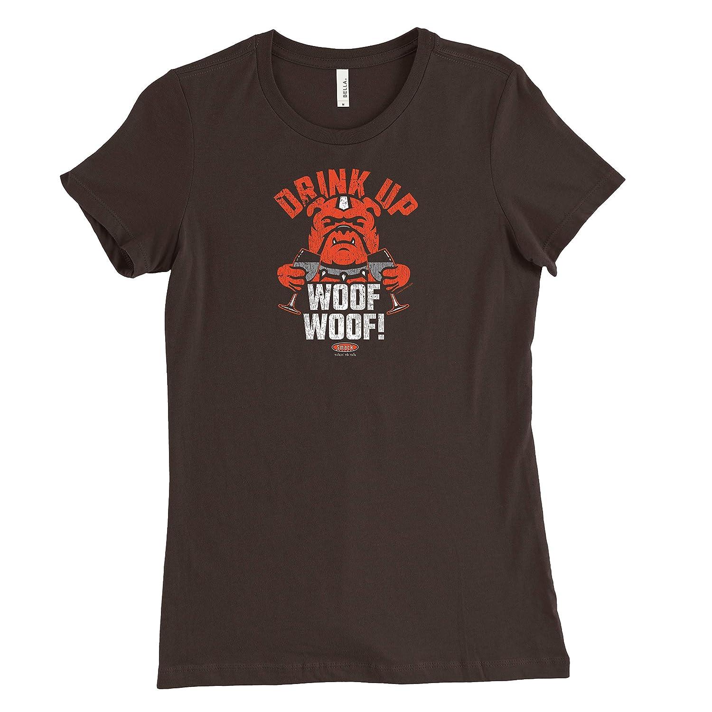 Smack Apparel クリーブランドフットボールファン。 ウーフを飲みましょう。 ブラウン レディース Tシャツ(Sm-2X)  Large