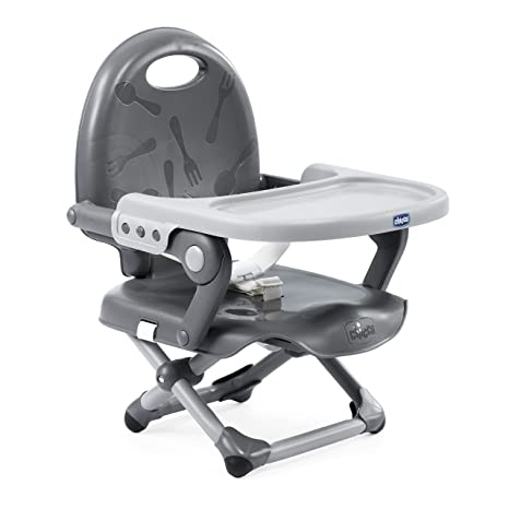 Chicco Pocket Snack Elevador asiento de silla regulable en 3 alturas para bebés, ligero 2 kg, color gris (Dark Grey)