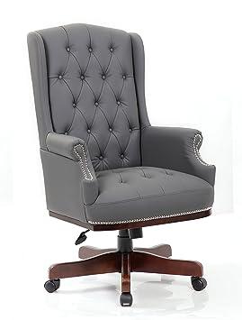 Directeurs Responsables De Luxe Chesterfield Captain Style Cuir PU Bureau Chaise Meubles Gris