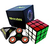 Nitrocubes Speed Cube - 3x3 - Ideal for Competitions, Best Magic Puzzle Toy, Better than the Original Rubix Cube Turns Quicker and More Precisely Than Original, Inc Fidget Spinner for some Extra Fun