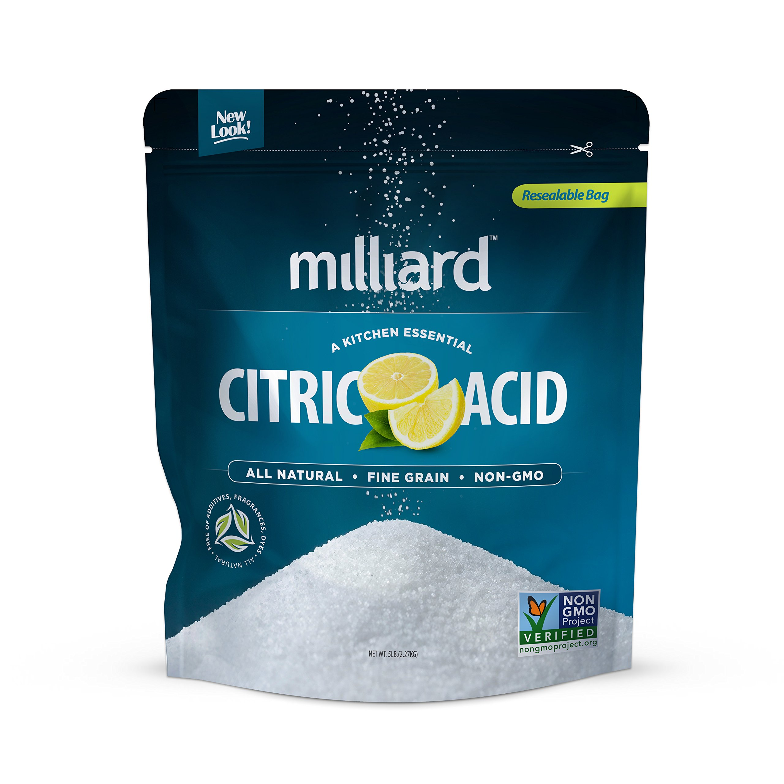 Milliard Citric Acid 5 Pound - 100% Pure Food Grade NON-GMO Project VERIFIED (5 Pound) by Milliard