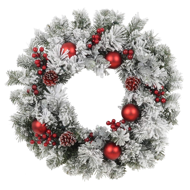 GARTHWAITE NURSERIES/® 12 Christmas Wreath Decoration//Door Artificial Xmas Red//Poinsettias//Holly Cone