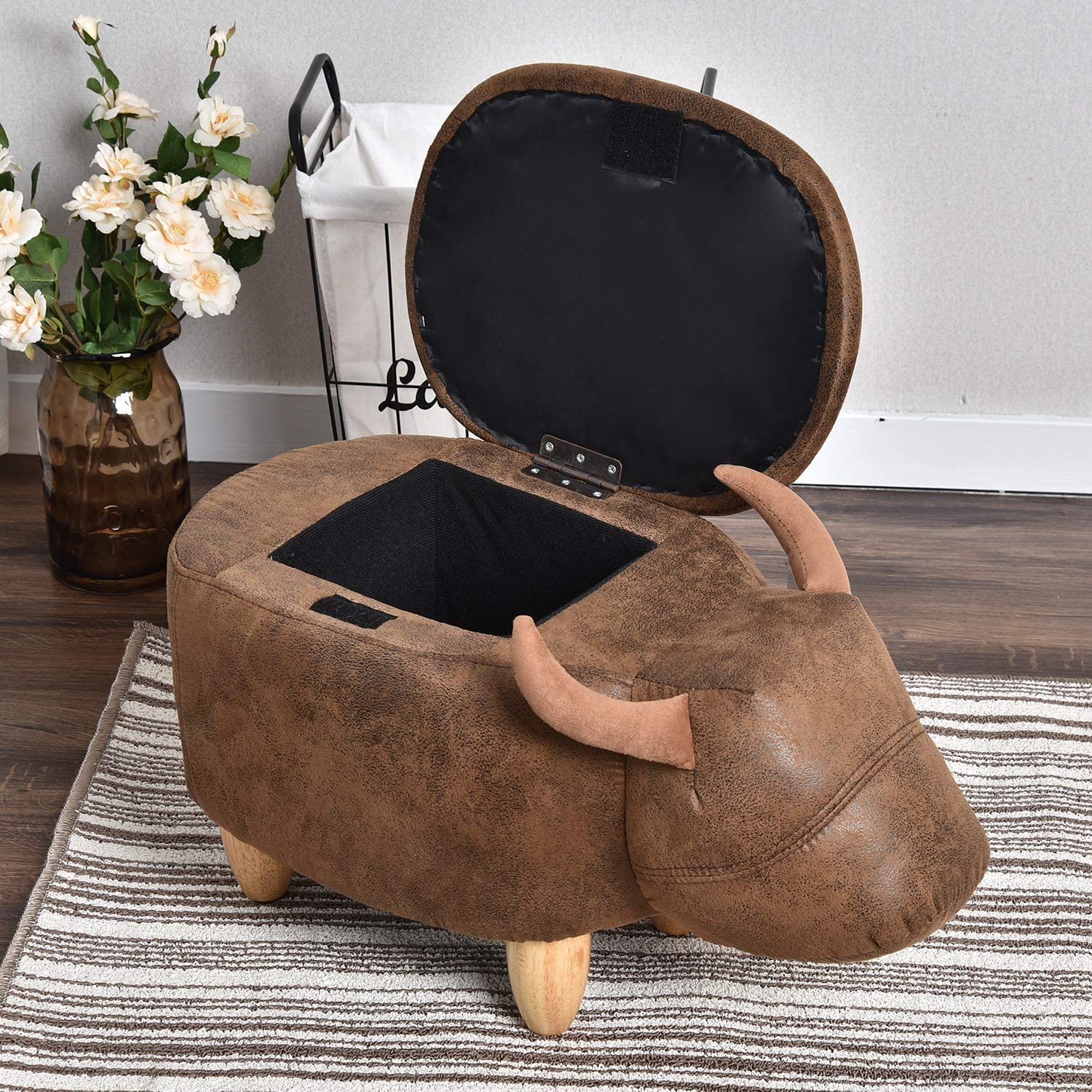 Upholstered Animal Storage Ride-on Ottoman Footrest Stool with 4 Wooden Feet Vivid Adorable Animal-Like Features Cow