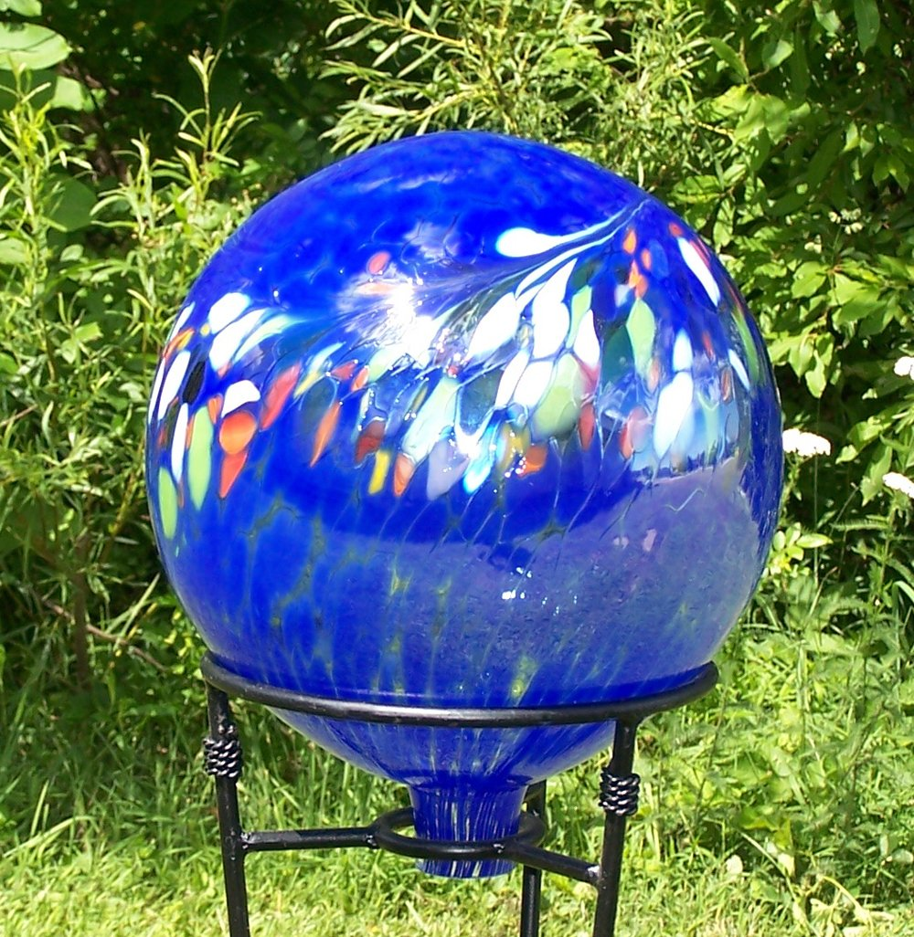 Glass Gazing Ball''Circus Blue'' 12 Inch by Iron Art Glass Designs