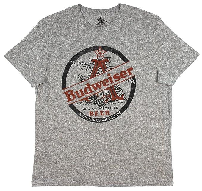 9d53527f Amazon.com: Budweiser King of Beers Heather Grey Tee Shirt Anheuser ...