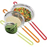 Fine Mesh Stainless Steel Strainer Set of 3 with Silicone Handles - Large, Medium & Small Size - Ideal to Strain Pasta Noodles, Quinoa, Cocktails, Tea, Sift & Sieve Flour & Powdered Sugar - Free EBook