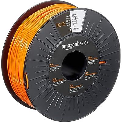 AmazonBasics - Filamento para impresora 3D, tereftalato de polietileno (PETG), 1,75 mm, cinta de 1 kg, naranja