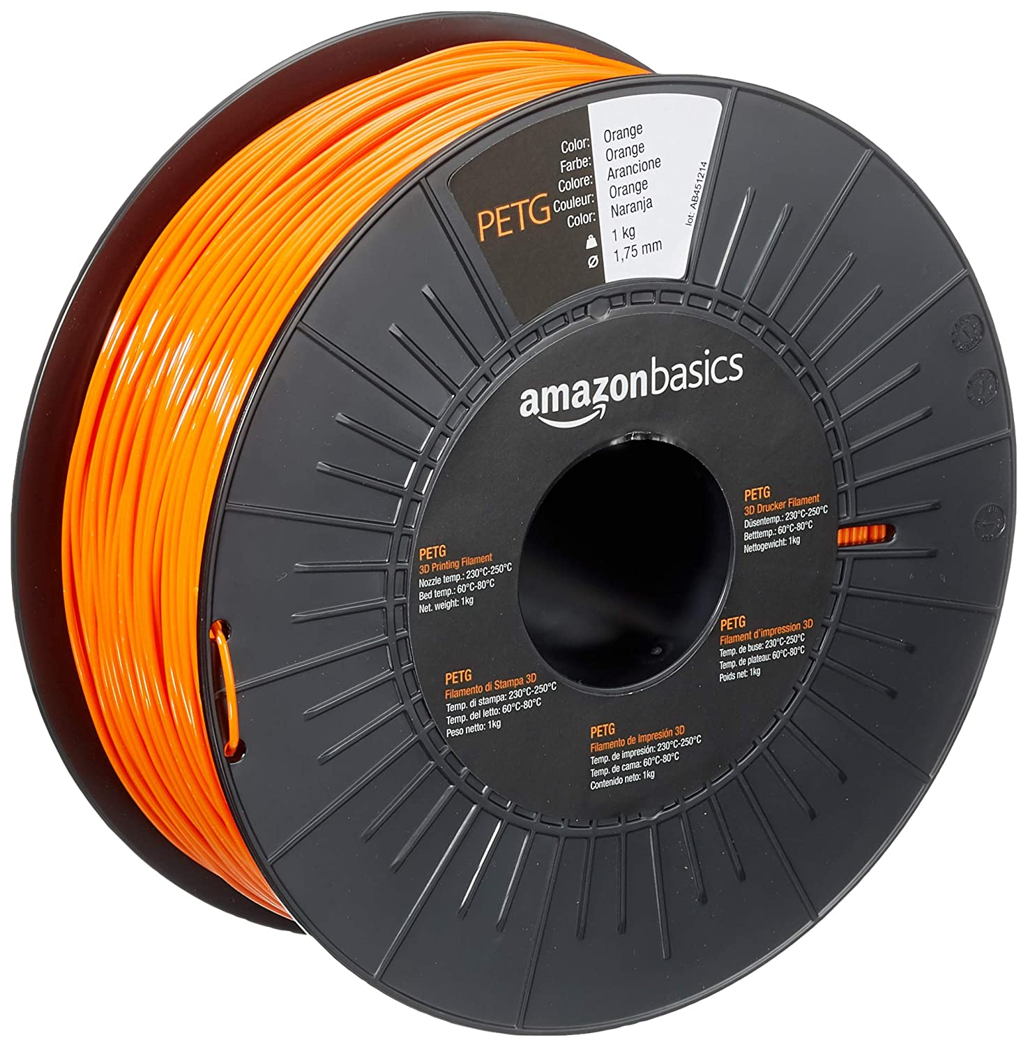 AmazonBasics PETG 3D Printer Filament, 1.75mm, Orange, 1 kg Spool