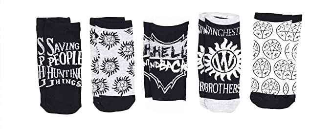 Supernatural Winchester Brothers Saving People Join The Hunts 5 Pack Ankle  Socks