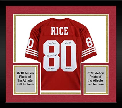 buy popular 5797e a1cb3 Framed Jerry Rice San Francisco 49ers Autographed Mitchell ...