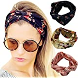 Women Elastic Flower Printed Turban Head Wrap Headband Twisted Hair Band