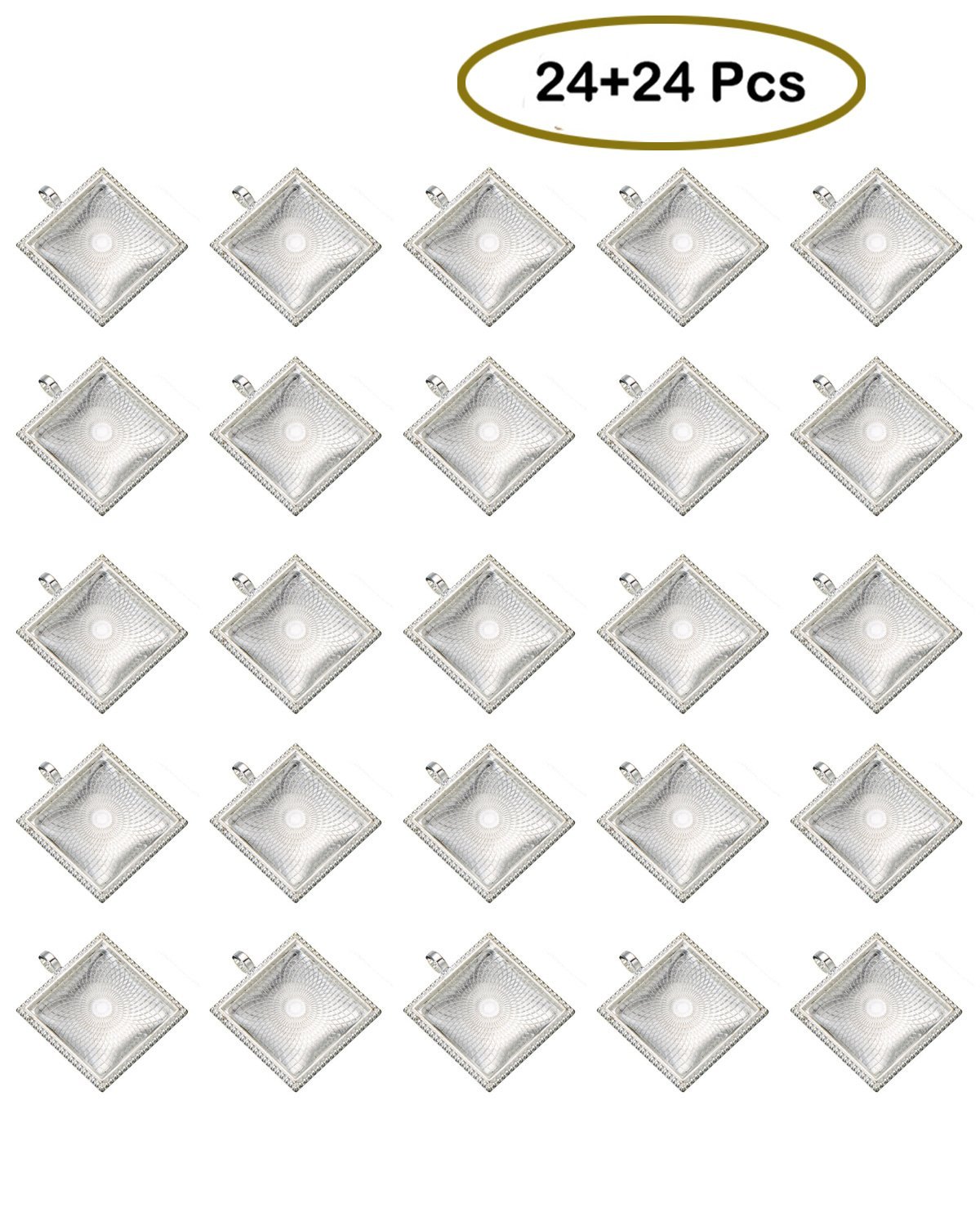 DEEBF 24 Pieces Transparent glass cabochons with 24 Silver Pendant Trays, clear glass square cabochon, Non-calibrated Square 1 inch/25mm For Photo Pendant Craft Jewelry Making