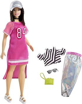FJF71 fournie avec deuxi/ème tenue Barbie Fashionistas poup/ée mannequin #86 brune avec robe pastel et coupe-vent violet jouet pour enfant