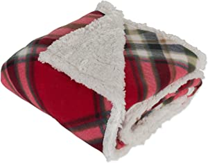 DII Fleece Plush Sherpa Throw Blanket, 50x60, Red Plaid