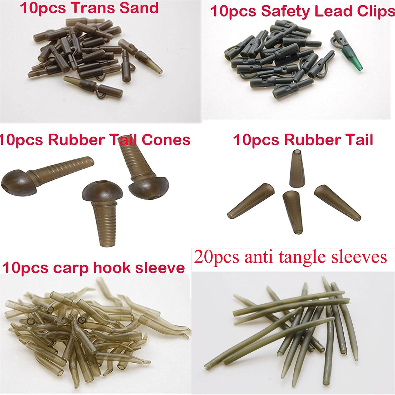 Carp Fishing Tackle 32pc weight lead clips Quick link swivels rig tube Hair Rigs