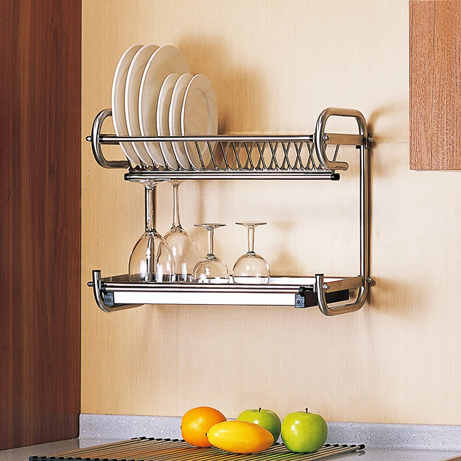 Amazon.com Probrico Wall Mounted Dish Drainer Rack Stainless Steel 23.6 inch Dish Drying Rack Plates Bowls Storage Organizer Holder Kitchen u0026 Dining & Amazon.com: Probrico Wall Mounted Dish Drainer Rack Stainless Steel ...