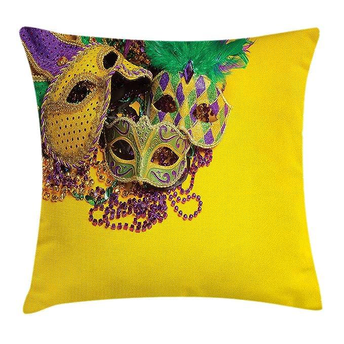 Amazon.com: Queolszi Mardi Gras Throw Pillow Cushion Cover ...