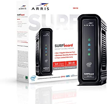 Arris Surfboard SB6190 (32x8) DOCSIS 3.0 Cable Modem w/1.4Gbps Max Speed